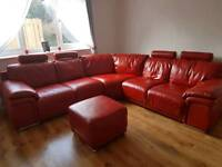 Red Leather and footstool
