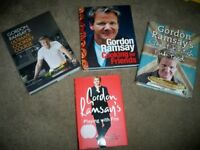 3 GORDON RAMSEY HARDBACK COOK BOOKS WITH 1 'PLAYING WITH FIRE' LIFE STORY BOOK