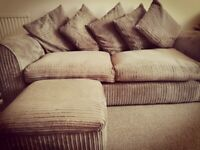 Lovely 3&2 seater Jumbo Cord Sofa Set with Footstool and cushions