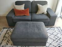 Two Seater Sofa IKEA KIVIK with Footstool