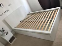 DOUBLE BED FRAME, HIGH, 2 Large storage boxes.