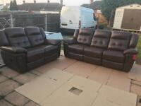 LA-Z-BOY BROWN LEATHER 3 SEATER + 2 SEATER ELECTRIC RECLINER SOFA SET