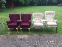 4 high back fireside chairs