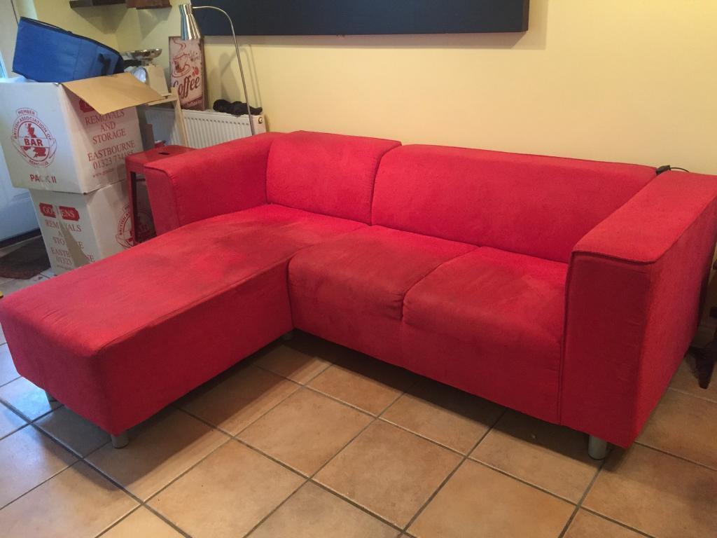 Red corner / chaise sofa