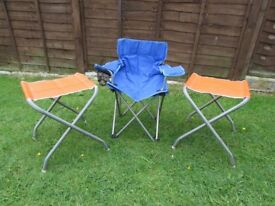 3 kids/children's folding camping chairs, portable, garden, beach, fishing chairs/seat spare seating