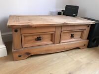 Pine tv stand with 2 drawers