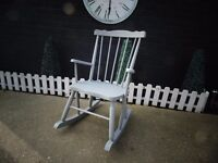 SOLID PINE FARMHOUSE ROCKING CHAIR PAINTED WITH LAURA ASHLEY PARIS GREY VERY SOLID CHAIR
