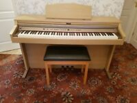 Roland HP-102e Digital Piano in oak colour Full Size 88 weighted keys 3 pedals matching colour stool