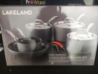 Lakeland Hard Anodised 5 Piece Non-Stick Pan Set