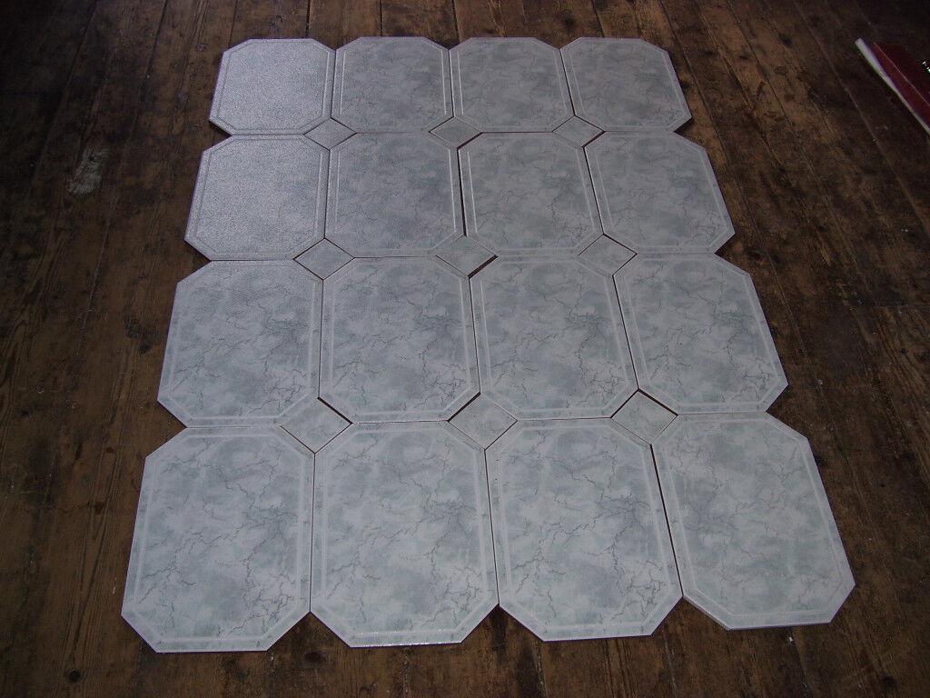 SIXTEEN x large octaganol shaped ceramic floor tiles with infills.