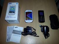 Samsung Galaxy Fame White Boxed Tesco Network & Samsung GT E2121b Black Unlocked.