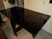 Next black high gloss extendable table and 4 chairs
