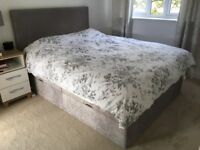 King size bed with storage compartment - less than 1 year old