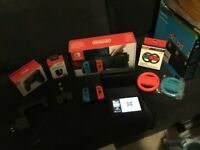 FOR SALE Nintendo switch console red/blue, boxed with pro controller & 3 games