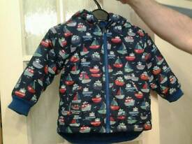 Jojo maman bebe boys boat coat warm very good condition says 18 months to 24 fitted till 3