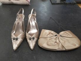 Beautiful light gold stilletto shoes & matching bag from John Lewis size 5