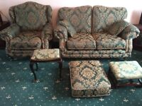 Sofa set include 2 seater settee aarmchair and 2 stalls