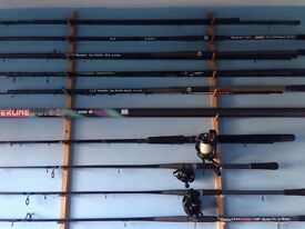 Rods, reels and various fishing tackle as new and used for sale!