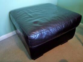 Furniture Village Warm Brown Leather Storage Footstool