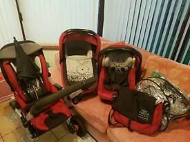 3 piece pram set + rain cover & changing bag