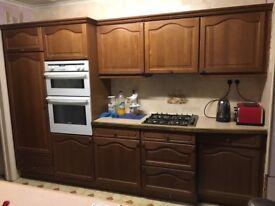 used kitchen units doors sink hob oven worktop fridge freezer. Solid oak