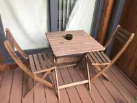 Garden/balcony table and 2 chairs