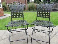 2 x Black Cast Metal Folding Patio Chairs