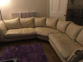 Looking to swap 7 seater cream REAL leather corner sofa