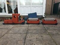 Hand made wooden train planter