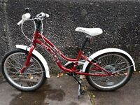 Red and white girls bike