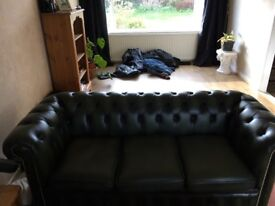Real leather green chesterfield
