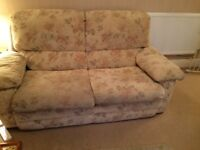 Cream Autumn leaf patterned sofa. Two and three seater, very comfortable, good condition,
