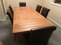 """Oak Furniture Land 4ft 7"""" Extending Dining Table with 6 Brown Leather Chairs"""