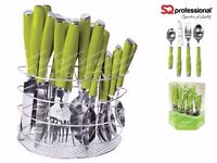 SQ Professional 24PC Stainless Steel Kitchen Cutlery Set Fork/Spoon (Green)