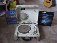 VINTAGE PHILIPS DISC_JOCKEY RECORD PLAYER SPARES OR REPAIR COMPLETE.