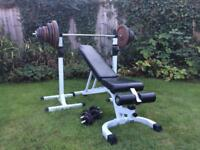 "226kg 1"" weights set, Heavy duty FID bench & stands."