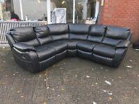 Designer Harveys Black Leather Leatherette Recliner Corner Sofa Suede Fabric 5-6 Seater