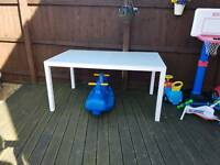 6 seater white glass top garden table
