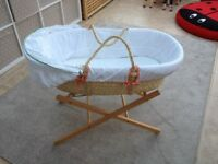 Mamas & Papas Moses Basket (with mattress) & Stand (Babies 'R' Us), excellent condition, £25
