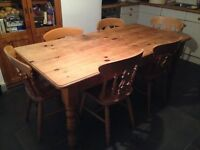 Pine kitchen table and six chairs