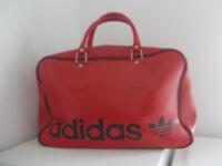 Rare 1980s Vintage Red Adidas Peter Black Sports Holdall Bag Retro Mod Soul Weekender Breakdance