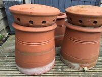 4 x Terracotta Chimney Pots and 1 x Chimney Cowl Top