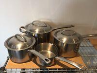 Prestige stainless steel saucepans in good condition
