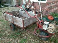 Wolseley Major Rotovator and trailer with Briggs and Stratton engine