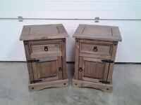 New pair bedside cabinets in Mexican pine. One drawer, one door each.Less half price, can deliver.