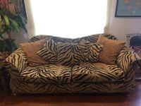 Large 3 Seater Sofa Zebra Leopard Print Pattern Black Orange Gold Yellow Pillows Cushions Roll Top