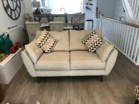 French Connection Zinc 3 seater, 2 seater and footstool