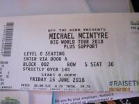 2 Michael McIntyre tickets SSE HYDRO GLASGOW Friday 15th JUNE