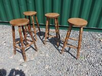 4 Pine High Stools, Heavy Duty, Excellent Condition, Very Sturdy Barstools/Breakfast