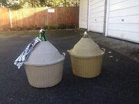 3 large 54 litre glass demijohns with jackets for sale . Wine making carboys .